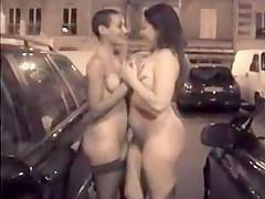 Drunk prostitutes walk down the street