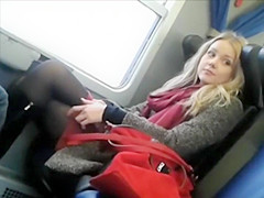 Voyeur spies a lovable girl on the train