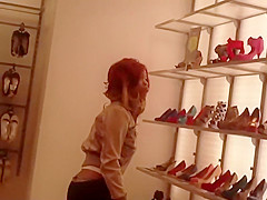 Ghetto girl buying new shoes