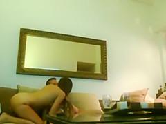 Hidden cam caught a hot girl riding dick