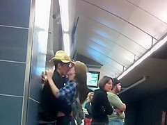 Making out in the subway station