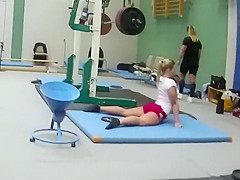 Sexy weightlifter girl during workout
