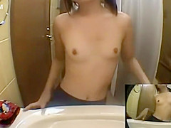 tiny girl rubbing and washing her pussy