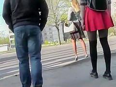 Torn pantyhose under a skirt