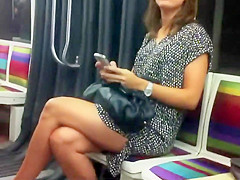 Gorgeous girl makes a selfie in the bus