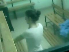Adorable teens spied in school lockers