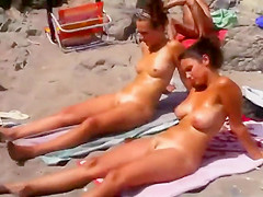 Well tanned nudist girls nicely spied