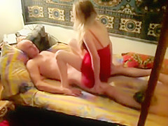 Spying a horny couple in a rented room