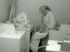 Lesbians get spied in the laundry room