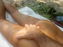 Nudist has fun with wife's hot nude ass