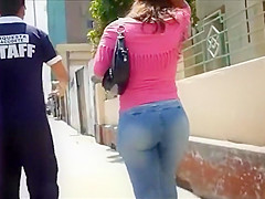 big round butt in tight jeans pants