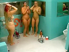 Hot women showering on a big brother