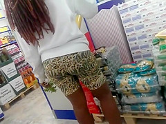 Big black booty in the supermarket