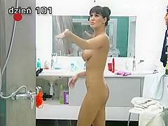 Sexy girl showers in big brother show