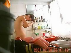 Petite girl peeped fully naked in bathroom