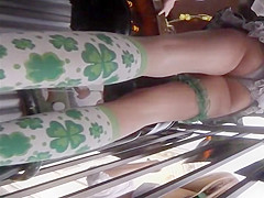 Hot upskirt on saint patrick's day
