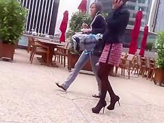 Rookie voyeur follows a business lady