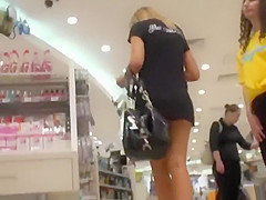 sneaky upskirt peeps in the mall