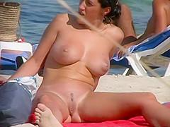 Spread legs revealing her beefy pussy