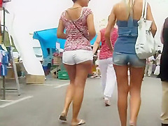 Creeping behind two sexy teenage butts