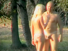 Blonde's seduction of a nudist guy