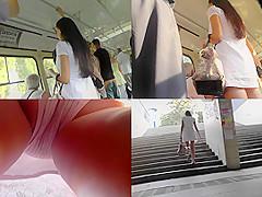 sheer panty upskirt footage of a hot brunette