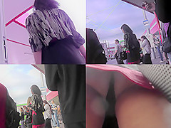 upskirt porn with brunette hair gal in a public place
