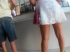 Transparent lace thong found in upskirt