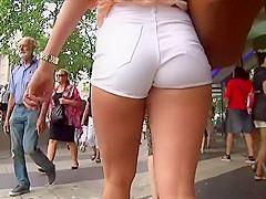 Peeping asian upskirts and sexy feet