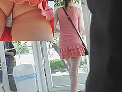 Sassy coral summer suit upskirt movie