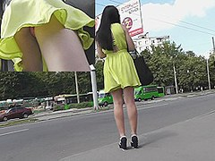 Looking up neon yellow costume