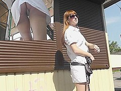 Redhead upskirt on a sunny summer day