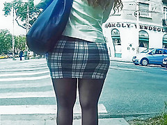 pantyhose legs in tight miniskirt