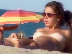Voyeur Camera at Beach Girl with Amazing Big Tits Topless