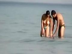 Voyeur Camera at Public Beach Films Busty Girlfriend Cleaning Up