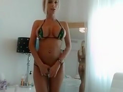 Smoking Hot Blonde with Huge Tits Plays with Pink Dildo on Pussy