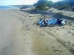 Public Beach Pervert Jerks Off on Nudist Girl Ass
