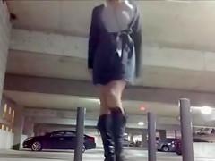 Cute Chick Exposing and Masturbating in Public Parking