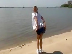 Sex at the Beach with German Blonde