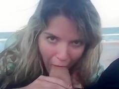 Perfect Blowjob at the Beach with Facial Cumshot