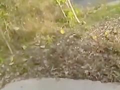 Hidden outdoor blowjob and handjob with cum on face
