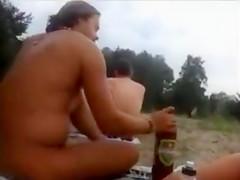 Nudist amateur couple doing sex at the beach