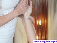 Sensual rubdown lesbian oiled and fingered
