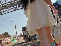Marvelous lengthy-haired upskirt hotty