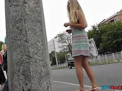 Hawt blondie in outdoor upskirt movie