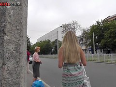 Hawt blondie in outdoor upskirt movie