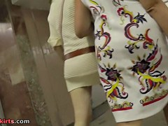 Pleasing upskirt arse up sweater suit