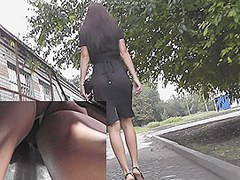 Delightful upskirt arse up hawt suit