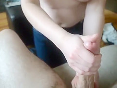 Stroking girlfriend works my balls and cock head