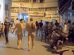 I enjoyed walking around the town with my friend completely naked